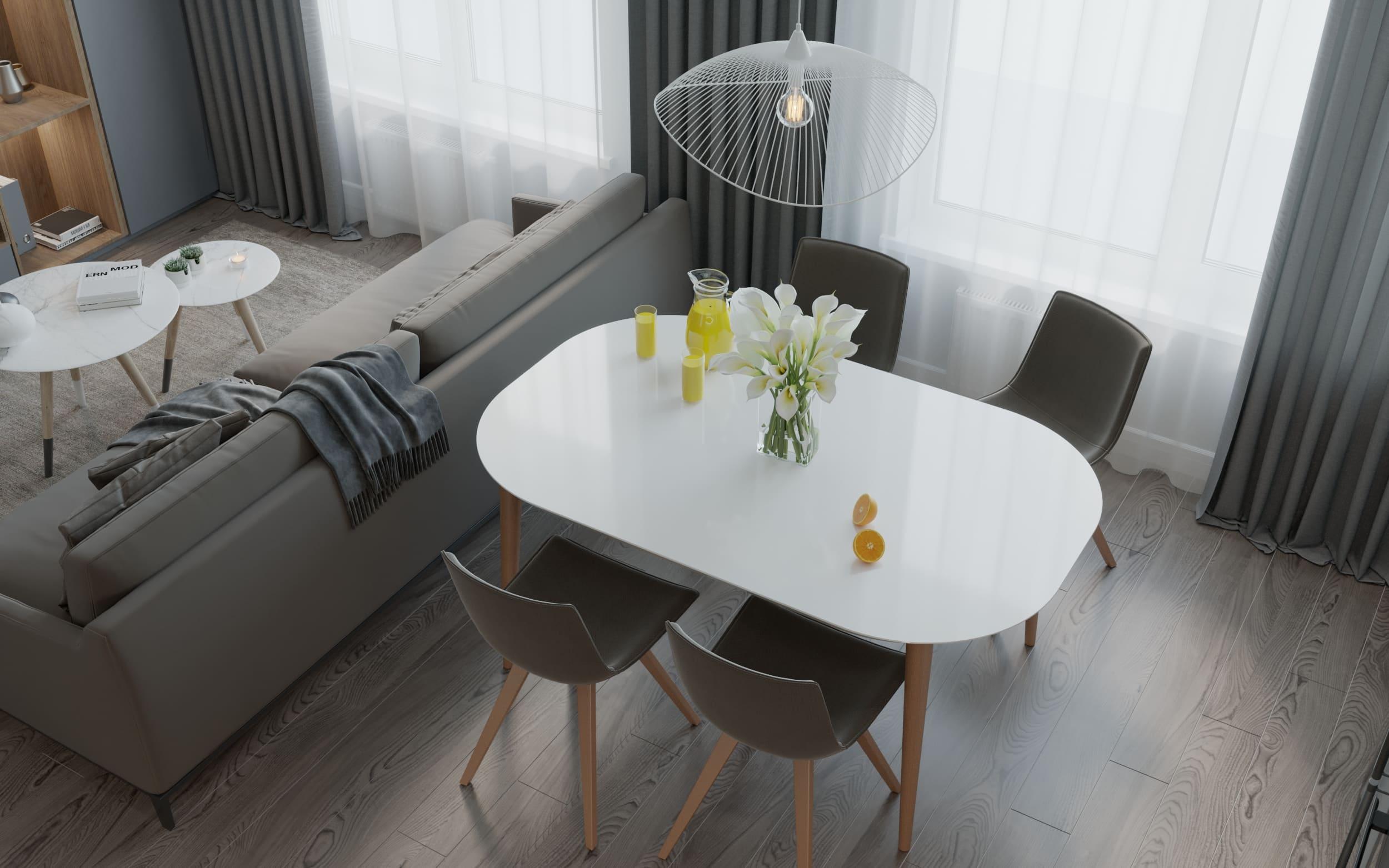 Дизайн проект в Бишкеке однокомнатной квартиры 51 квадратный метр